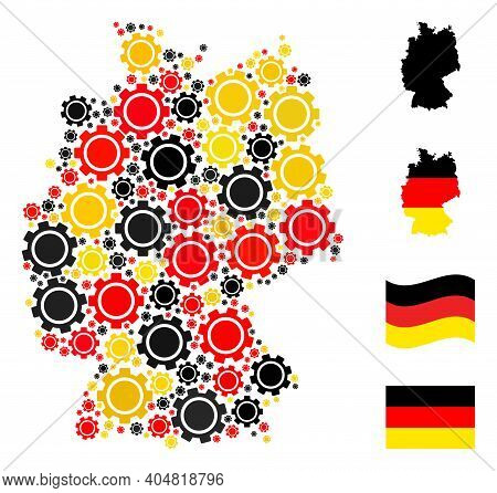 German Geographic Map Mosaic In German Flag Official Colors - Red, Yellow, Black. Vector Gear Elemen