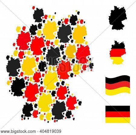 German State Map Mosaic In German Flag Official Colors - Red, Yellow, Black. Vector Germany Map Icon