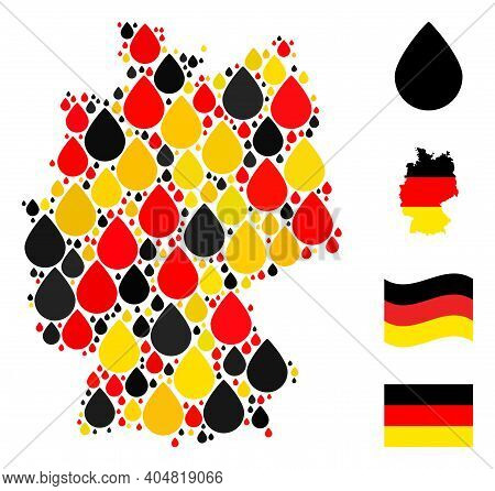 German Map Mosaic In German Flag Official Colors - Red, Yellow, Black. Vector Drop Design Elements A