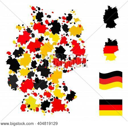 German State Map Mosaic In German Flag Official Colors - Red, Yellow, Black. Vector Germany Map Desi