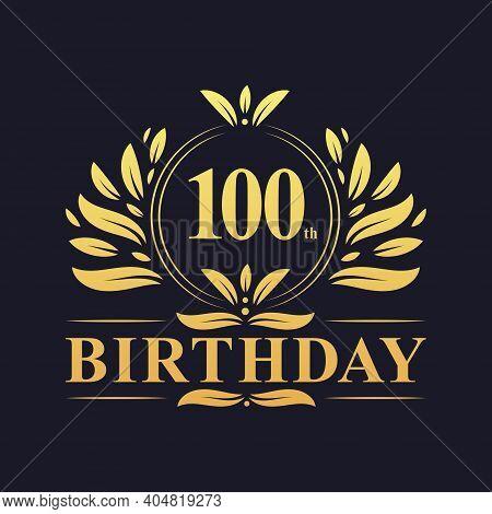 100th Birthday Design, Luxurious Golden Color 100 Years Birthday Celebration.