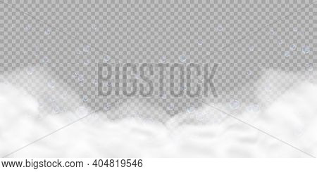 Bath Foam With Bubbles Isolated On Transparent Background. Realistic Soap Lather Texture. Vector Ill