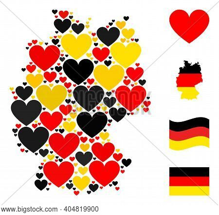 German Map Mosaic In German Flag Official Colors - Red, Yellow, Black. Vector Love Heart Icons Are O