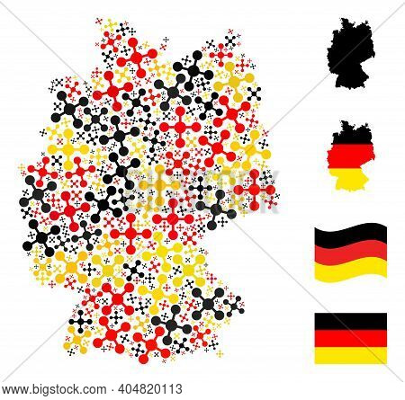 German Map Mosaic In German Flag Official Colors - Red, Yellow, Black. Vector Mesh Node Design Eleme