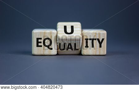 Equality Or Equity Symbol. Turned A Cube And Changed The Word 'equality' To 'equity'. Beautiful Grey