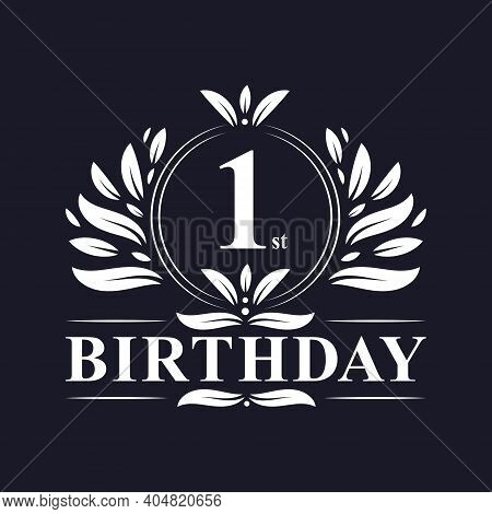 1st Birthday Celebration, Luxury 1 Years Birthday Logo Design.
