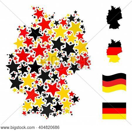 Germany State Map Mosaic In Germany Flag Official Colors - Red, Yellow, Black. Vector Star Pictogram