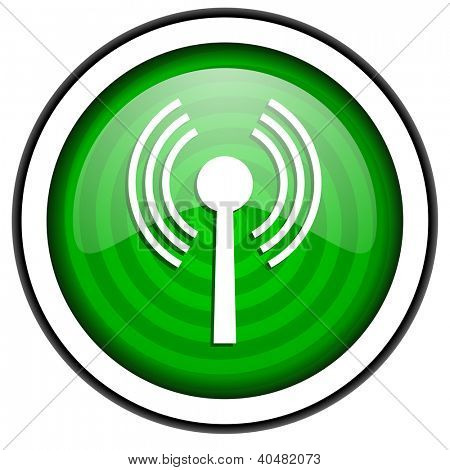 wifi green glossy icon isolated on white background