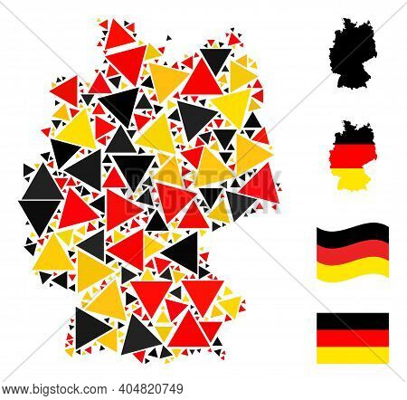 Germany State Map Mosaic In Germany Flag Official Colors - Red, Yellow, Black. Vector Filled Triangl