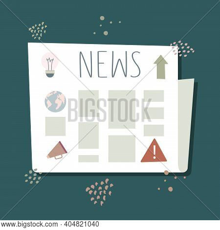 Vector Illustration Of A Newspaper With The Latest News And An Image Of The World, A Light Bulb, A L
