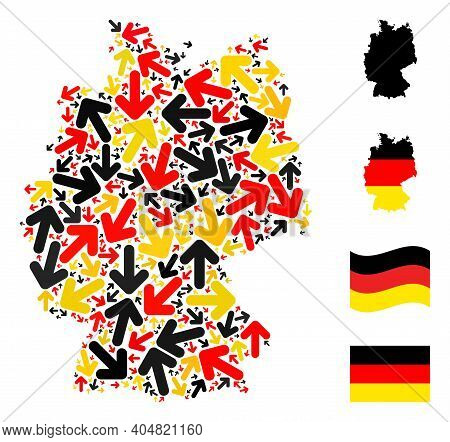 German Geographic Map Mosaic In German Flag Official Colors - Red, Yellow, Black. Vector Direction A