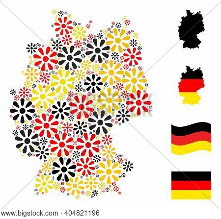 German State Map Mosaic In German Flag Official Colors - Red, Yellow, Black. Vector Flower Pictogram