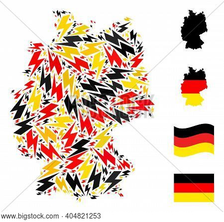 German Map Mosaic In German Flag Official Colors - Red, Yellow, Black. Vector Flash Items Are Formed