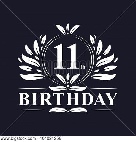 11 Years Birthday Logo, Luxury 11th Birthday Design Celebration.