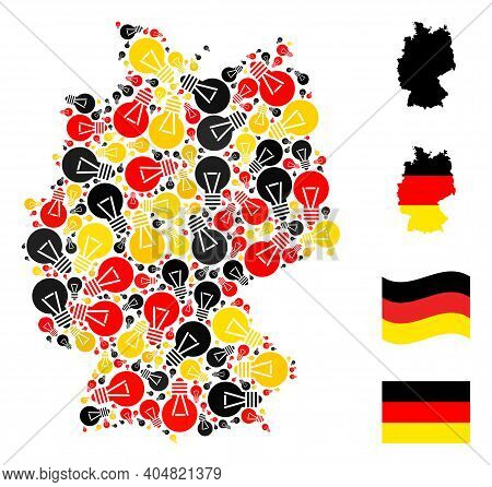 German Map Mosaic In German Flag Official Colors - Red, Yellow, Black. Vector Electric Bulb Design E