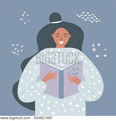 A Girl Reads A Book Before Going To Bed. Home Activities. The Study Of Information. The Concept Of R