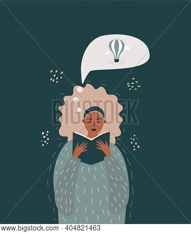 Illustration Of A Girl Reading A Book And Imagining A Picture. Illustration Of Thoughts. The Concept