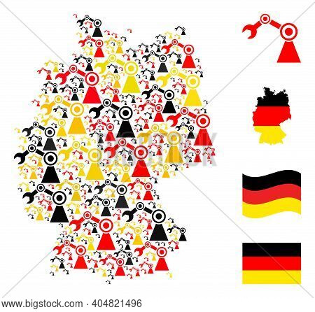 Germany Map Mosaic In Germany Flag Official Colors - Red, Yellow, Black. Vector Industrial Robot Ele