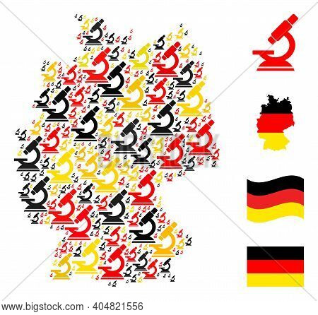 Germany State Map Mosaic In Germany Flag Official Colors - Red, Yellow, Black. Vector Microscope Pic