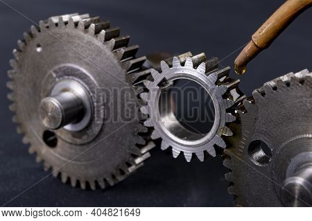 Coating Gears With Oil. Accessories And Spare Parts For Industrial Machinery.