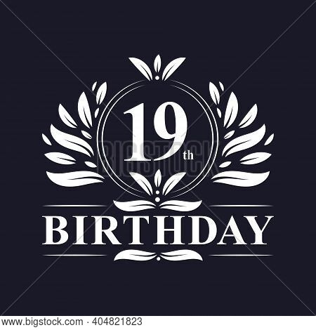 19th Birthday Celebration, Luxury 19 Years Birthday Logo Design.