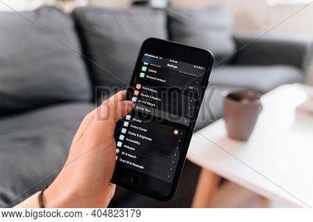 Poltava, Ukraine - Jan 2021 Screen Time Concept. Iphone Infographic Of Phone Usage. Social Media Add