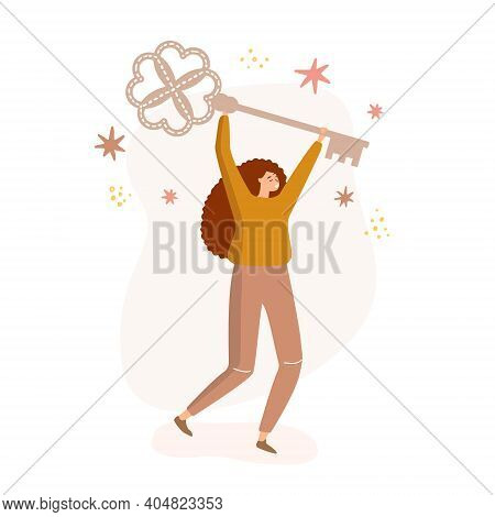 Flat Vector Illustration Of A Successful Woman Who Holds A Large Key To Open New Solutions. The Conc