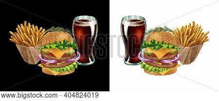 Fast Food Combo With Delicious Big Burger, Cola Soda In The Glass And French Fries Hand Drawn Illust