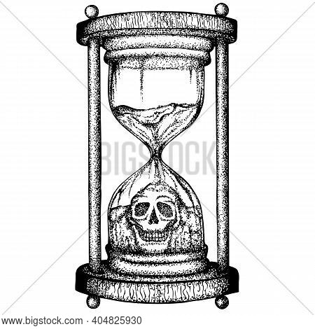 Hourglass With The Figure Of A Skull From Crumbling Sand. Vector Hand Drawn Illustration. Monochrome