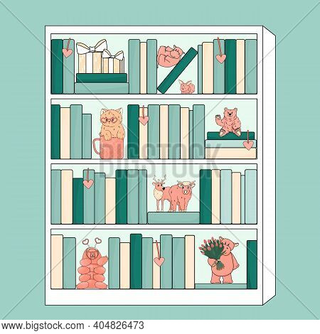 White Bookcase With Pink Animals Toys. Hippo Is On His Back Holds Paws, Another Animal With Tulips,
