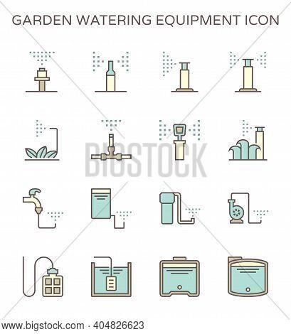Garden Watering Equipment Icon. Consist Of Sprinkler Head, Nozzle Spray, Water Tank, Water Pump And