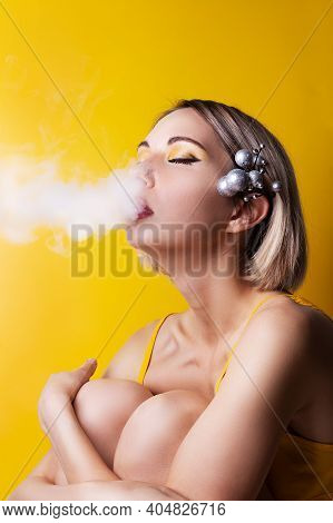 Banner With Portrait Young Sexy Blonde Woman Exhaling Vape, Hookah Or Electronic Cigarette Smoke Fro