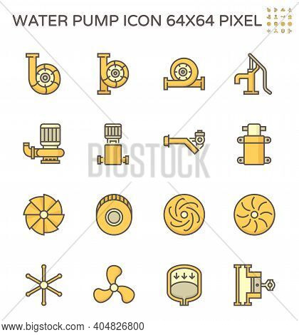 Water Pump Icon. Centrifugal, Well, Screw, Diaphragm, Reciprocating Including With Turbine, Propelle