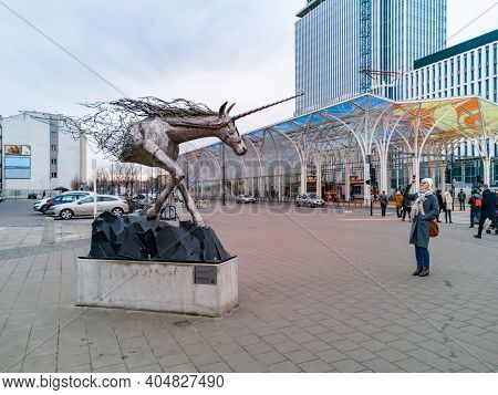 Lodz, Poland - February 22 2020 Big Unicorn Statue In Front Of Unicorn Stable Train Station