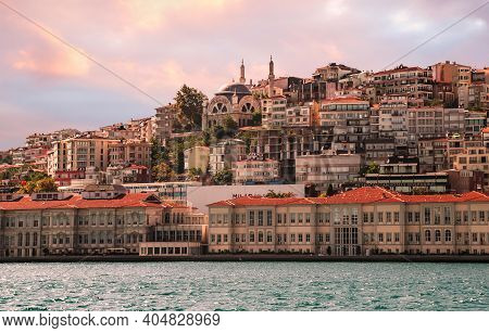 Istanbul, Turkey - 09 07 2020: View On The Bank Of Bosporus Strait With Mimar Sinan Fine Art Univers