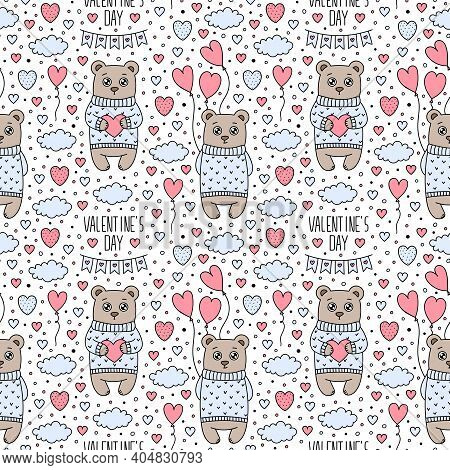 Vector Cute Cartoon Sweater Bears Seamless Pattern. Love Symbols, Valentines Day Text, Clouds, Heart