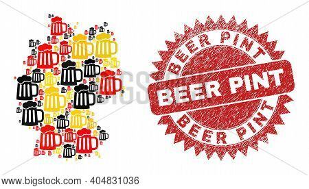 Germany Geographic Map Mosaic In Germany Flag Official Colors - Red, Yellow, Black, And Dirty Beer P