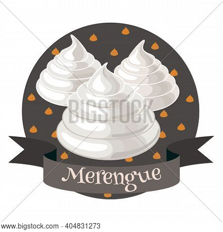 French Dessert Merengue. Colorful Cartoon Style Illustration For Cafe, Bakery, Restaurant Menu Or Lo