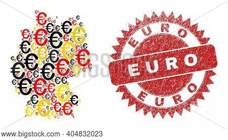 Germany Map Mosaic In Germany Flag Official Colors - Red, Yellow, Black, And Grunge Euro Red Rosette