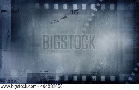 Blue film strip negative frames background