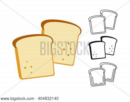 Slice Bread Icon Bakery Line Glyph Sketch Vector