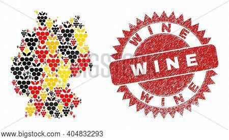 German Geographic Map Mosaic In German Flag Official Colors - Red, Yellow, Black, And Distress Wine