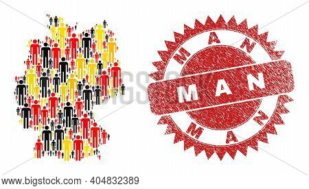 German State Map Mosaic In German Flag Official Colors - Red, Yellow, Black, And Distress Man Red Ro