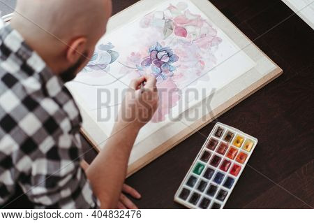 Dreamy Artist With Drawings And Watercolor Paints