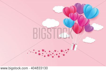 Illustration Of Love And Valentine Day With Heart Baloon, Gift And Clouds. Paper Cut Style. Vector I
