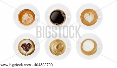 Top View Coffee Cup Collection, Coffee Cup Assortment With Shape Sign Collection Isolated On White B