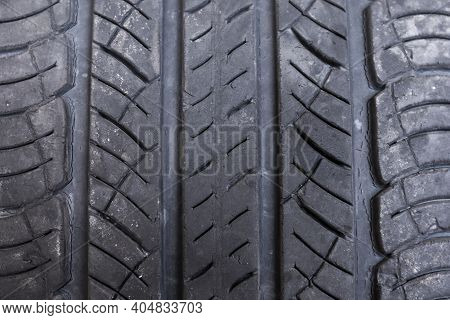Close Up Macro Old Tire Background , Non Slip Rubber Pad Made From Old Tire. Old Tire With Damage. A