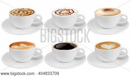 Side View Coffee Cup Collection, Coffee Cup Assortment With Shape Sign Collection Isolated On White