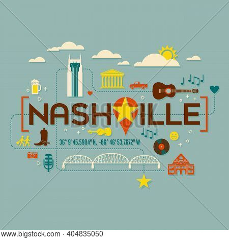 Nashville Landmarks, Attractions And Text Design With Longitude And Latitude. Flat Icon Style. For T