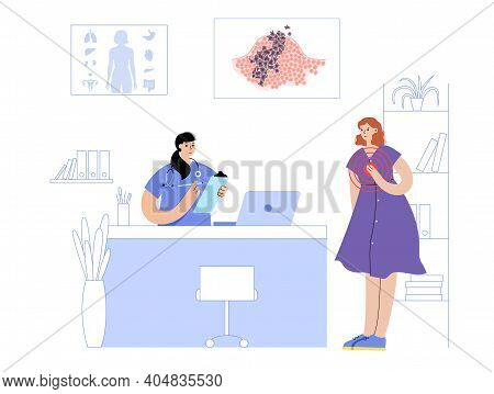 Vector Isolated Illustration Of Malignant Tumor In Healthy Tissue. Doctors Appointment In Medical Of